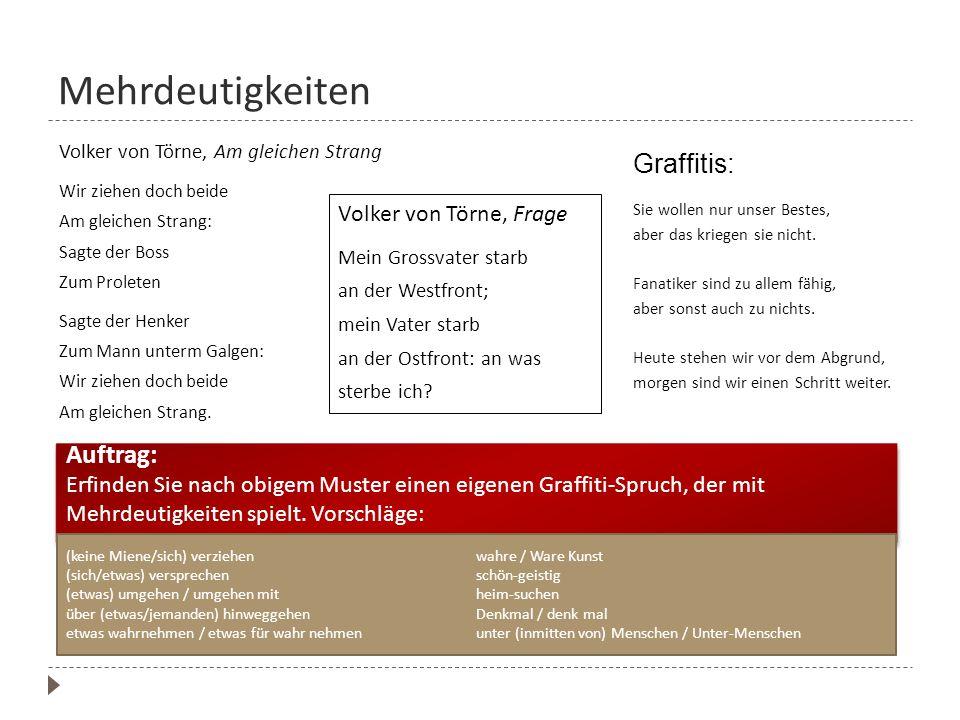Mehrdeutigkeiten Graffitis: Auftrag: Volker von Törne, Frage