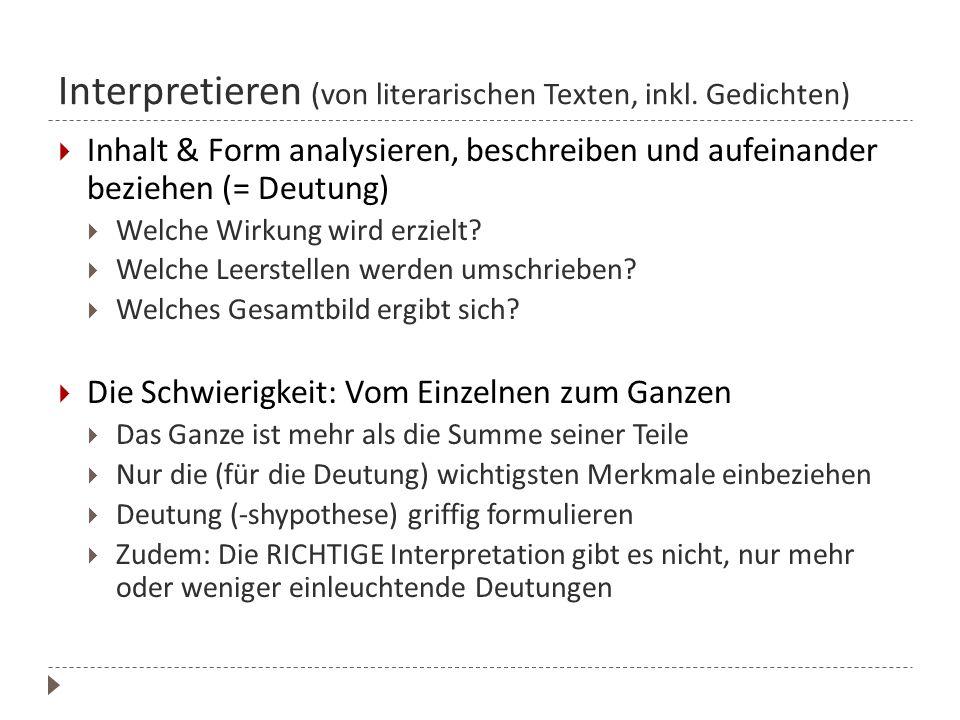 Interpretieren (von literarischen Texten, inkl. Gedichten)