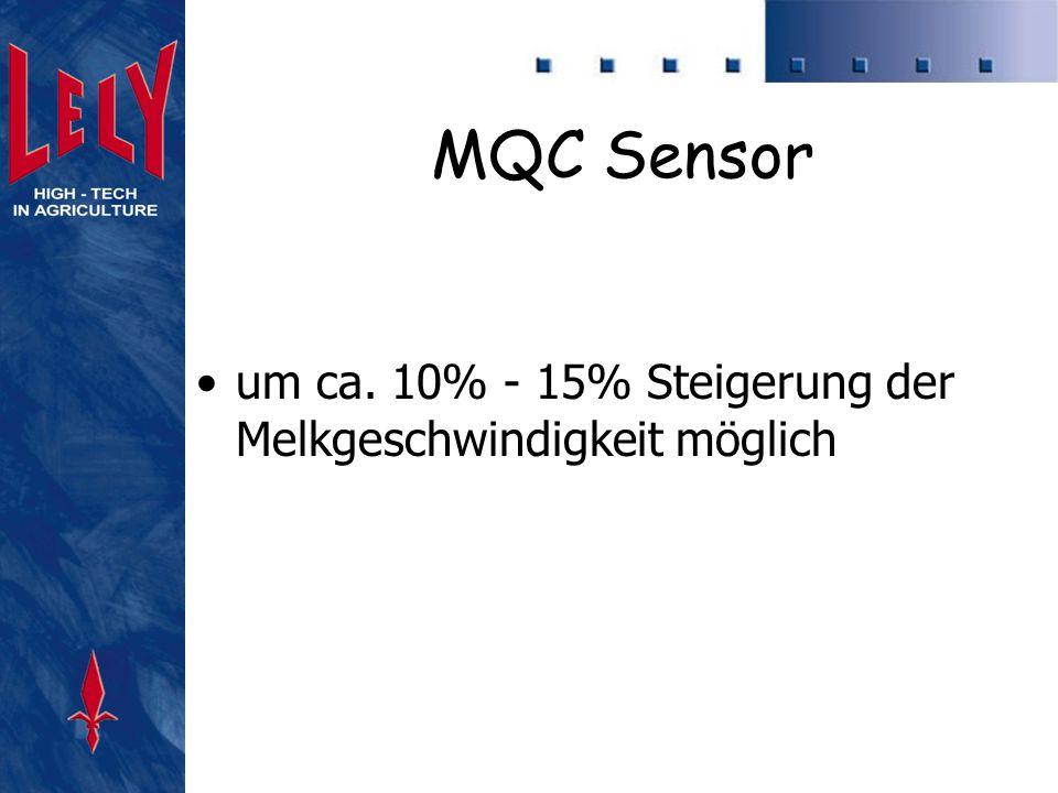 MQC Sensor um ca. 10% - 15% Steigerung der Melkgeschwindigkeit möglich