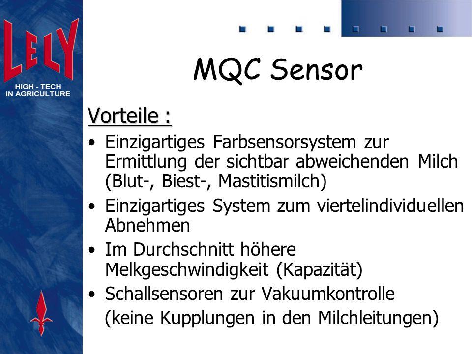 MQC Sensor Vorteile : Einzigartiges Farbsensorsystem zur Ermittlung der sichtbar abweichenden Milch (Blut-, Biest-, Mastitismilch)