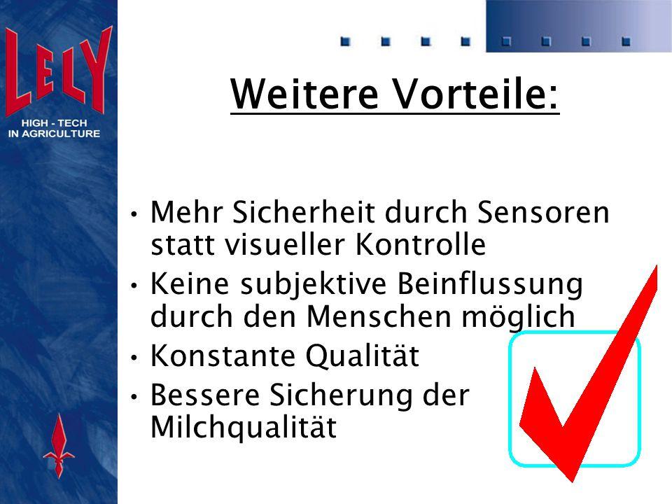 Weitere Vorteile: Mehr Sicherheit durch Sensoren statt visueller Kontrolle. Keine subjektive Beinflussung durch den Menschen möglich.