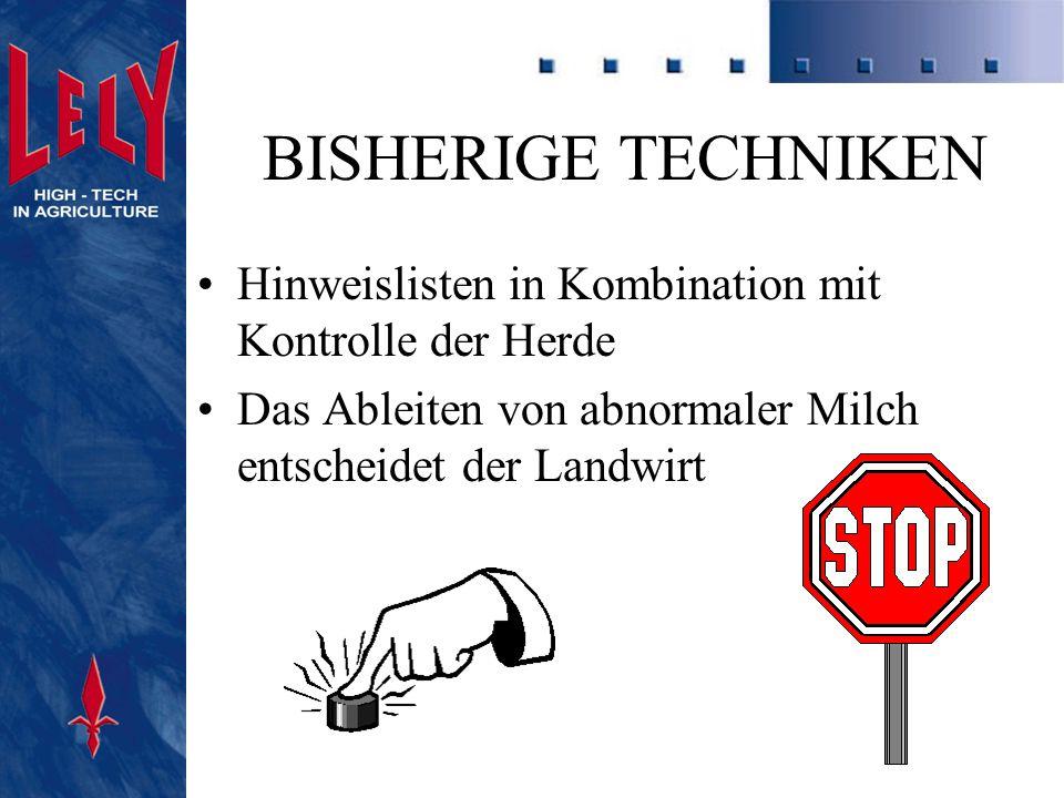 BISHERIGE TECHNIKEN Hinweislisten in Kombination mit Kontrolle der Herde.