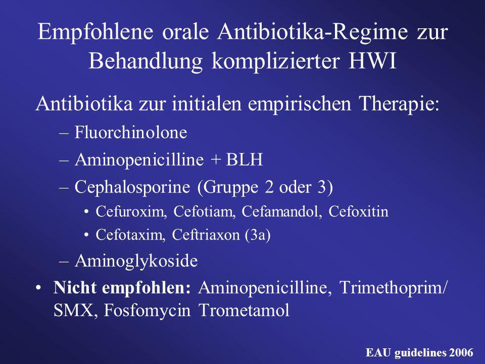 Empfohlene orale Antibiotika-Regime zur Behandlung komplizierter HWI