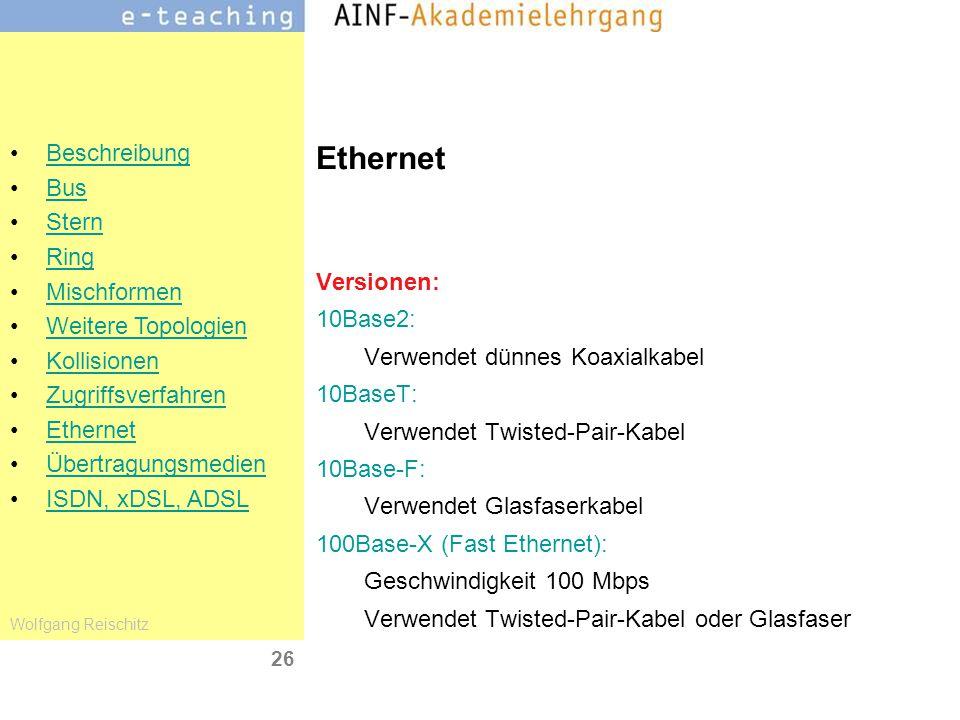 Ethernet Versionen: 10Base2: Verwendet dünnes Koaxialkabel 10BaseT: