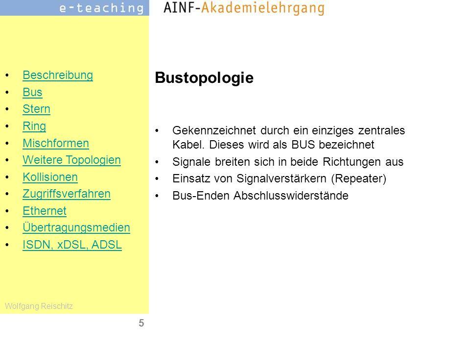 Bustopologie Gekennzeichnet durch ein einziges zentrales Kabel. Dieses wird als BUS bezeichnet. Signale breiten sich in beide Richtungen aus.