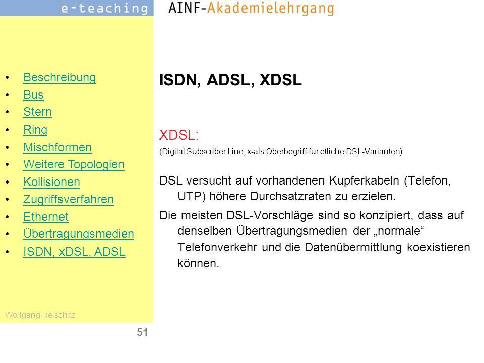 ISDN, ADSL, XDSL XDSL: (Digital Subscriber Line, x-als Oberbegriff für etliche DSL-Varianten)