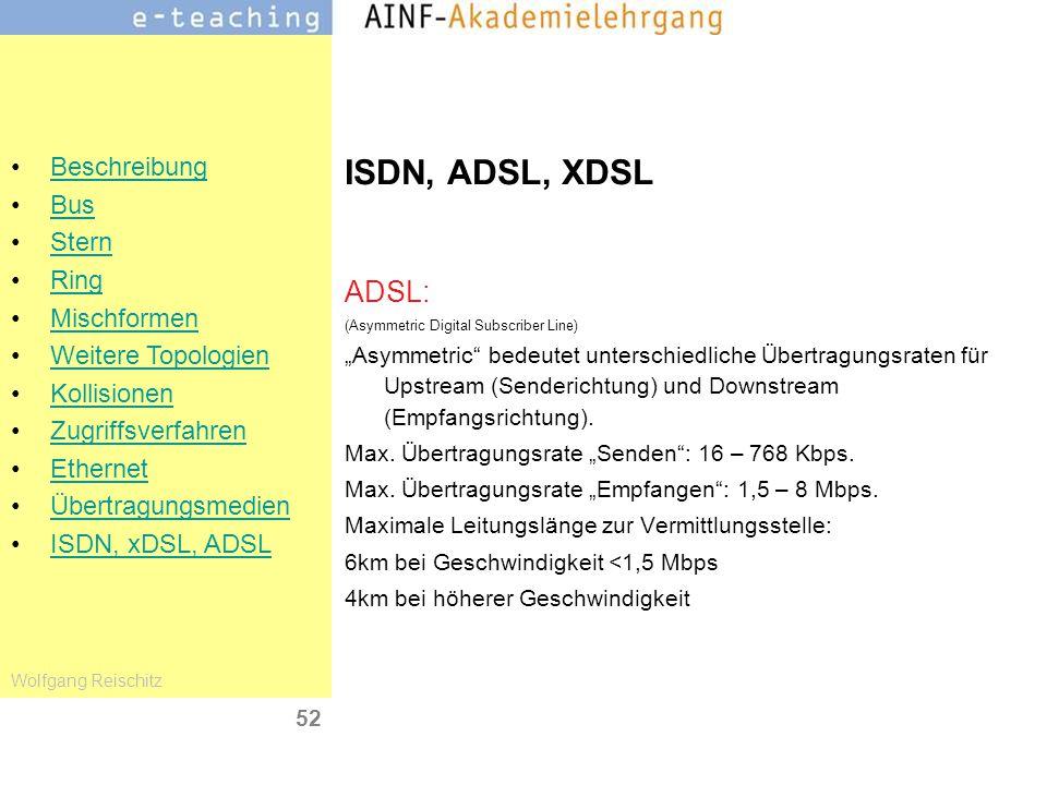 ISDN, ADSL, XDSL ADSL: (Asymmetric Digital Subscriber Line)