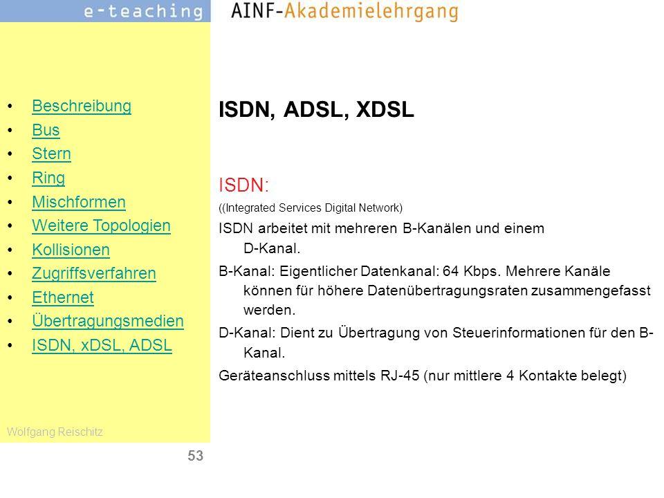 ISDN, ADSL, XDSL ISDN: ((Integrated Services Digital Network) ISDN arbeitet mit mehreren B-Kanälen und einem D-Kanal.