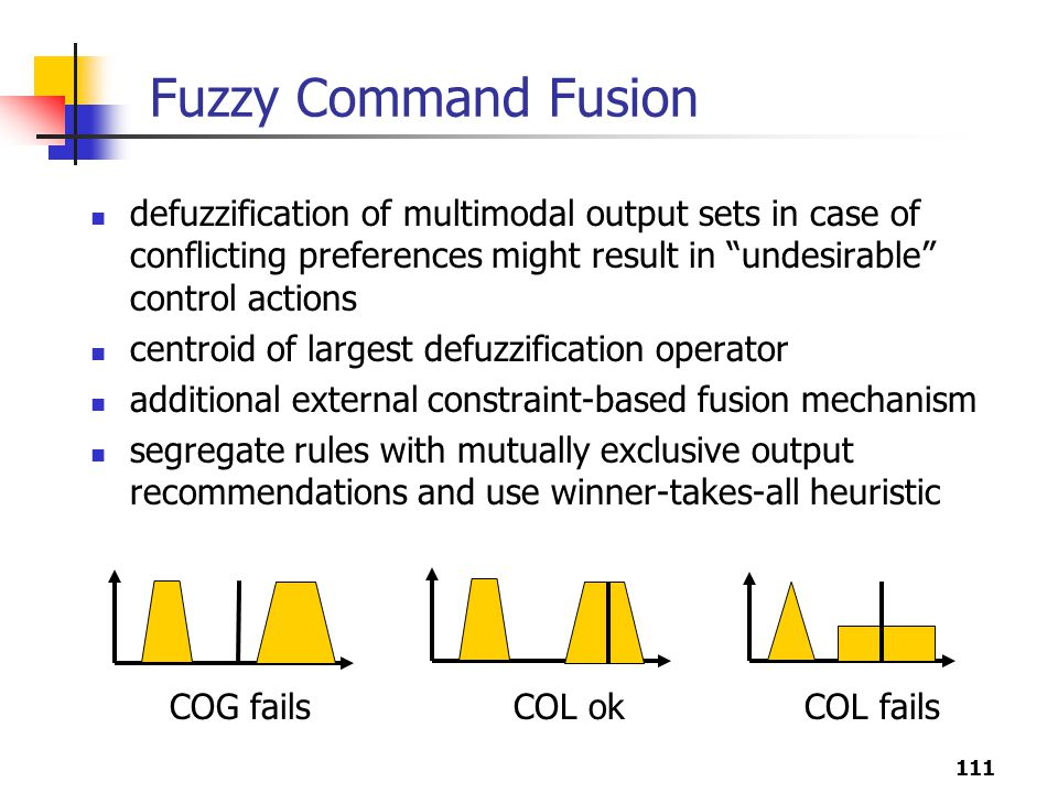 Fuzzy Command Fusion defuzzification of multimodal output sets in case of conflicting preferences might result in undesirable control actions.