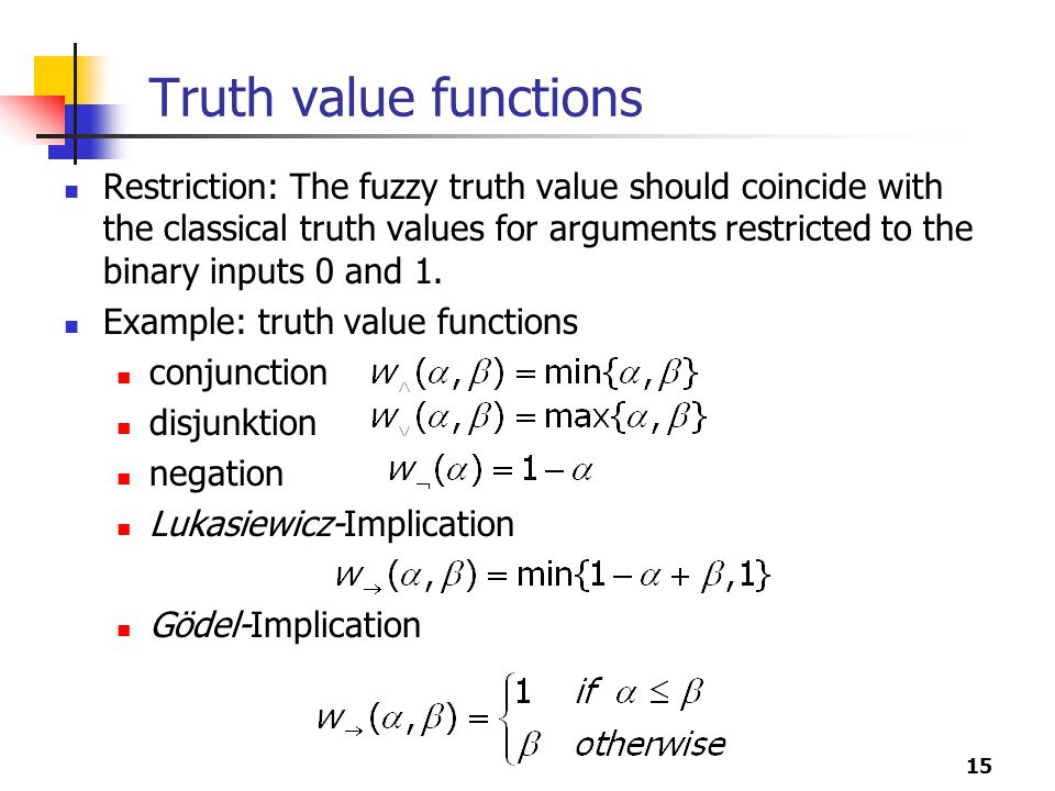 Truth value functions