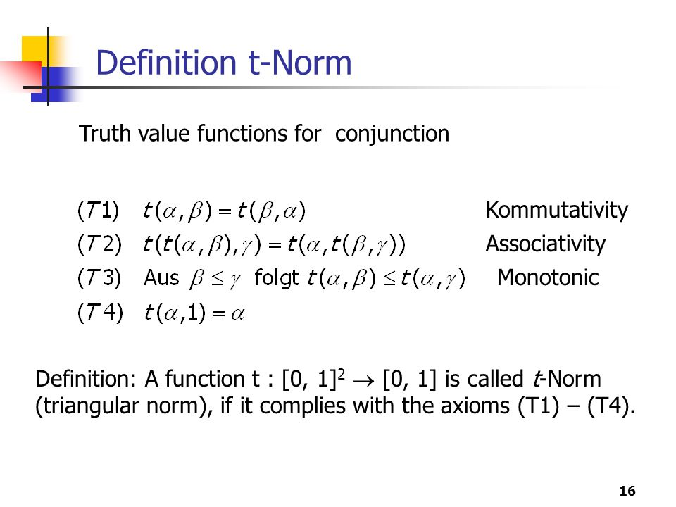 Definition t-Norm Truth value functions for conjunction Kommutativity
