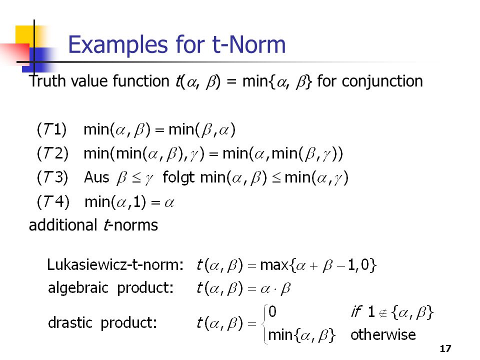 Examples for t-Norm Truth value function t(, ) = min{, } for conjunction additional t-norms