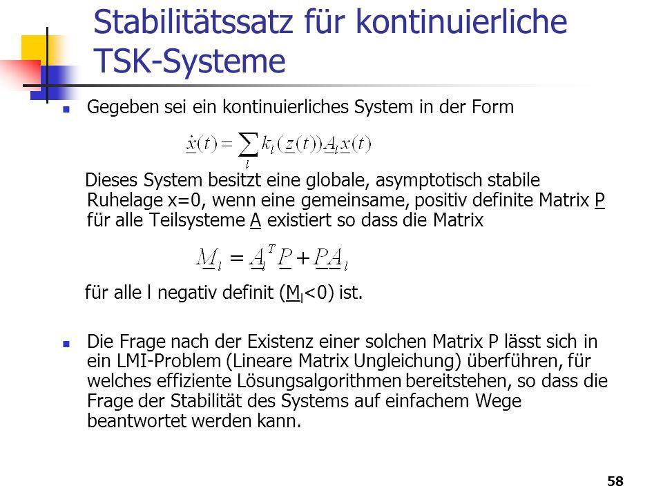 Stabilitätssatz für kontinuierliche TSK-Systeme