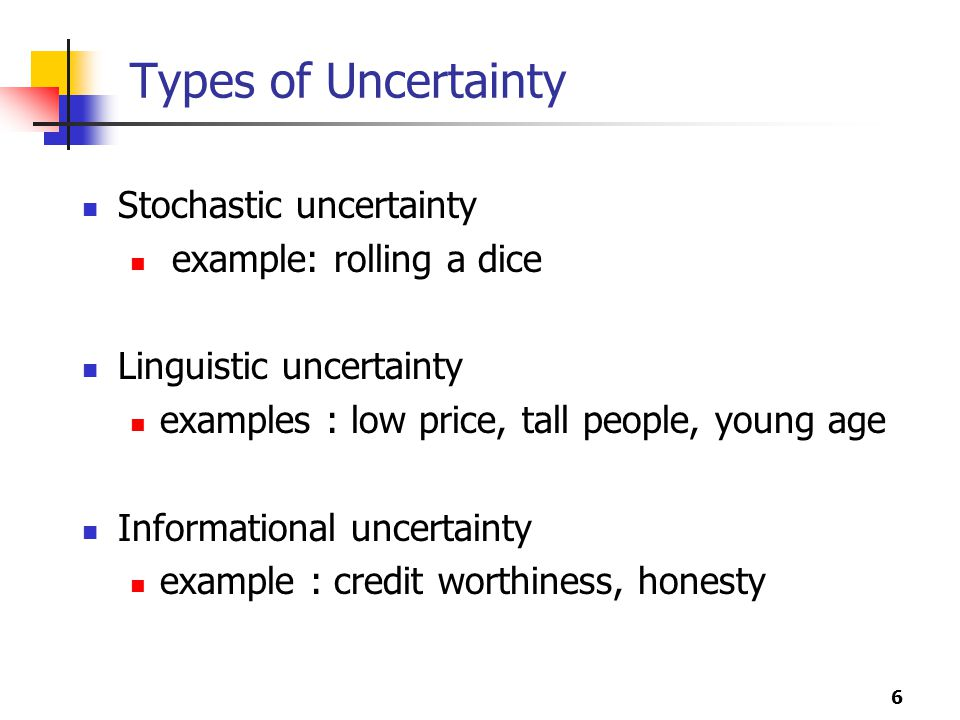 Types of Uncertainty Stochastic uncertainty example: rolling a dice