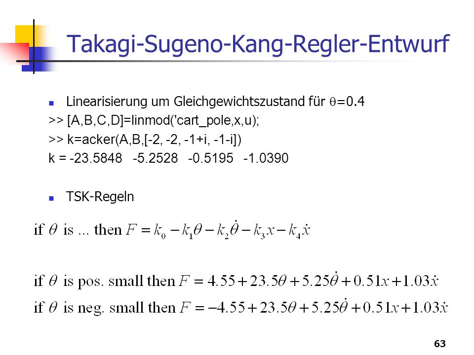 Takagi-Sugeno-Kang-Regler-Entwurf
