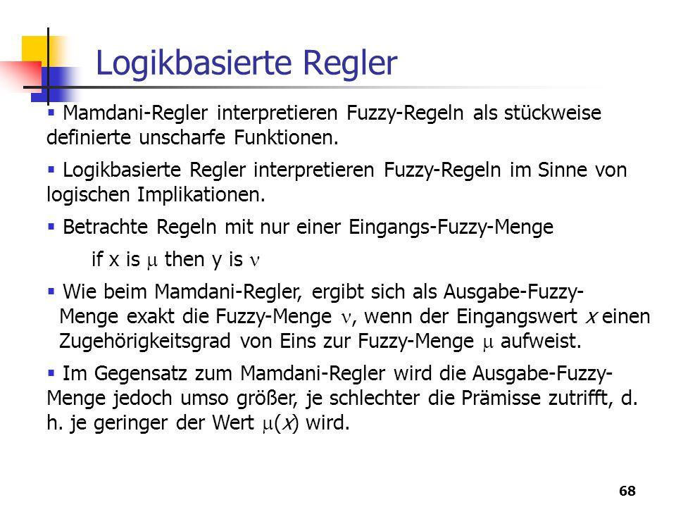 Logikbasierte Regler Mamdani-Regler interpretieren Fuzzy-Regeln als stückweise definierte unscharfe Funktionen.