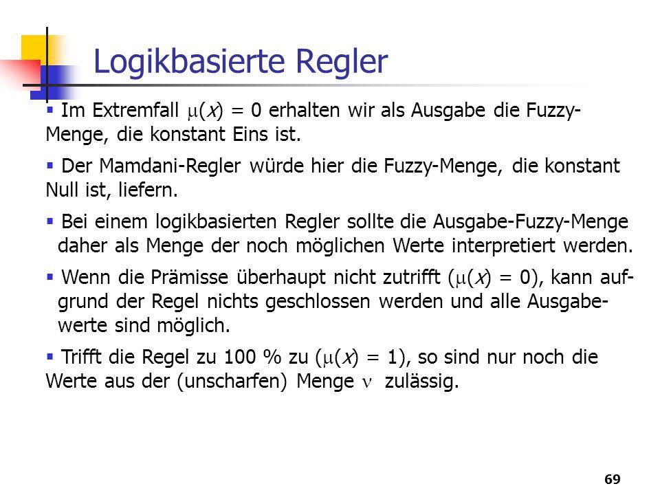 Logikbasierte Regler Im Extremfall (x) = 0 erhalten wir als Ausgabe die Fuzzy-Menge, die konstant Eins ist.