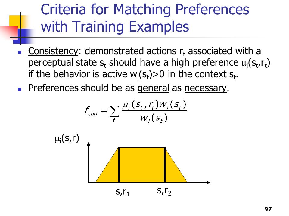Criteria for Matching Preferences with Training Examples