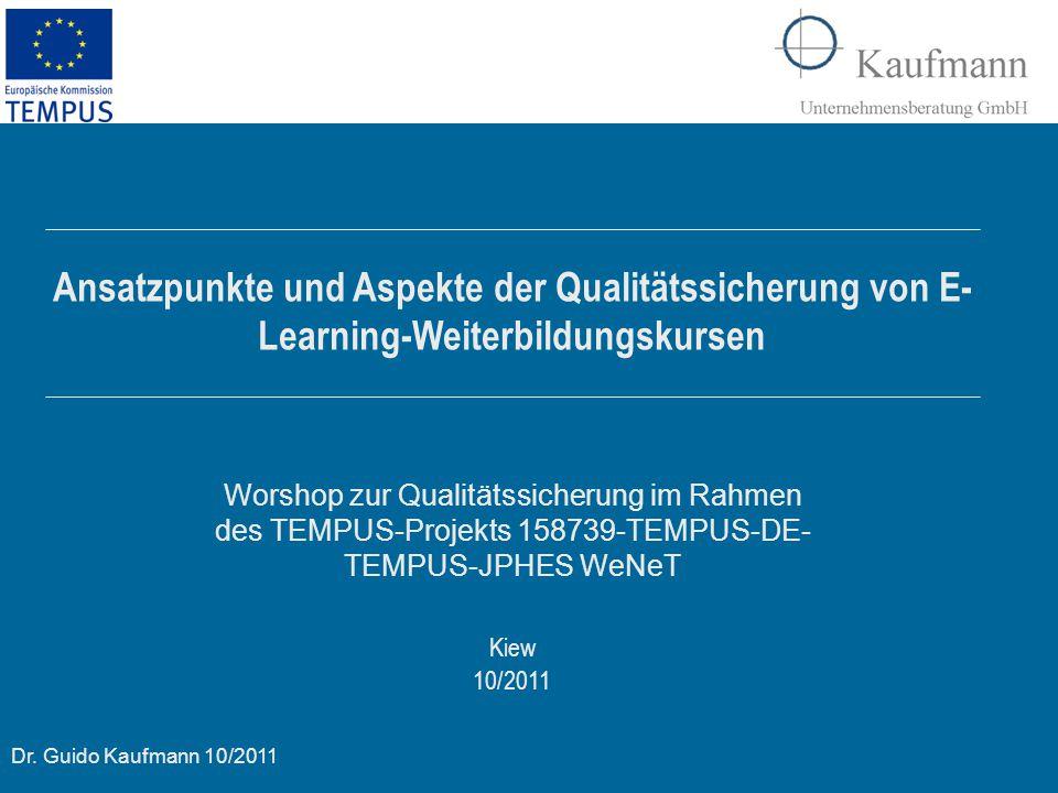 Ansatzpunkte und Aspekte der Qualitätssicherung von E-Learning-Weiterbildungskursen