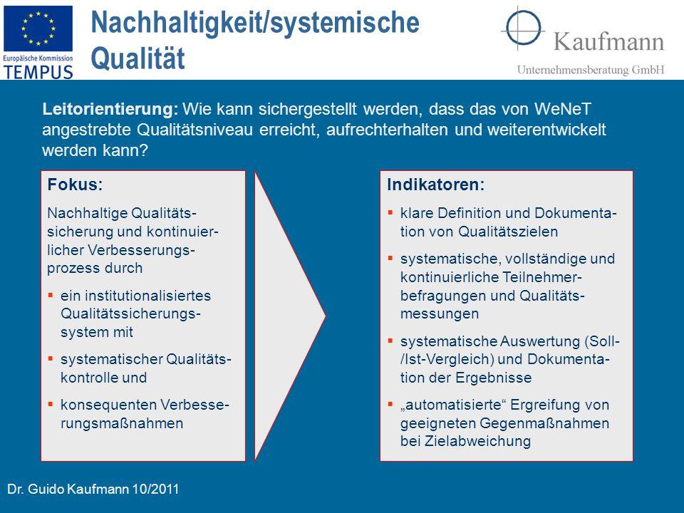 Nachhaltigkeit/systemische Qualität