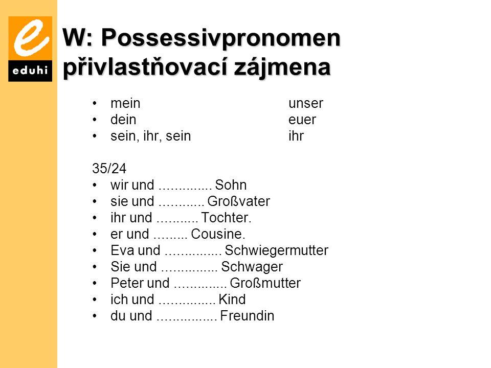 W: Possessivpronomen přivlastňovací zájmena