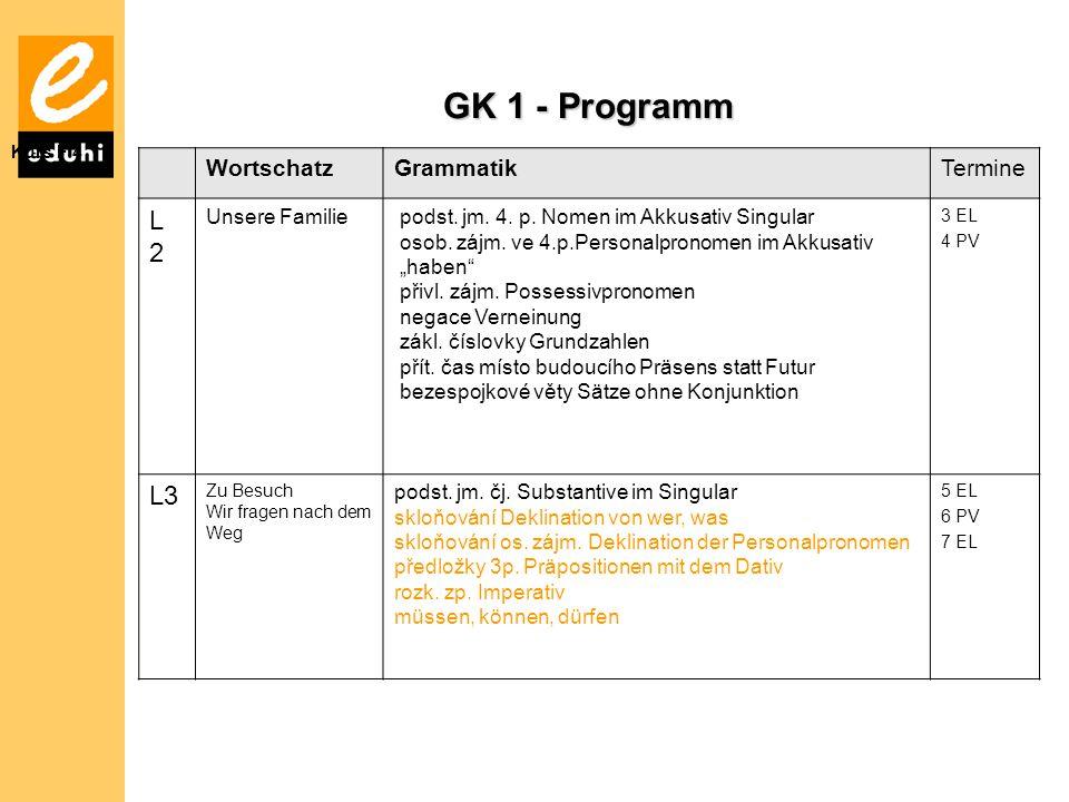 GK 1 - Programm L 2 L3 Wortschatz Grammatik Termine Unsere Familie