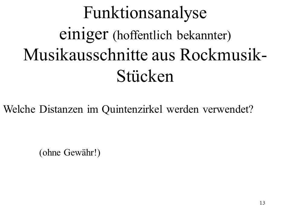 Funktionsanalyse einiger (hoffentlich bekannter) Musikausschnitte aus Rockmusik-Stücken