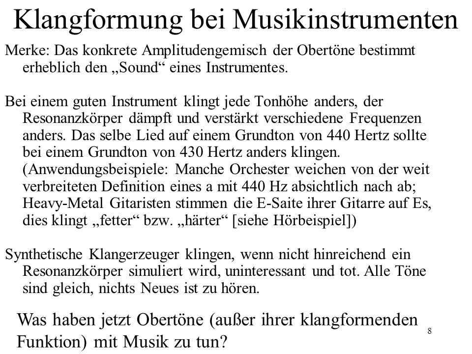 Klangformung bei Musikinstrumenten