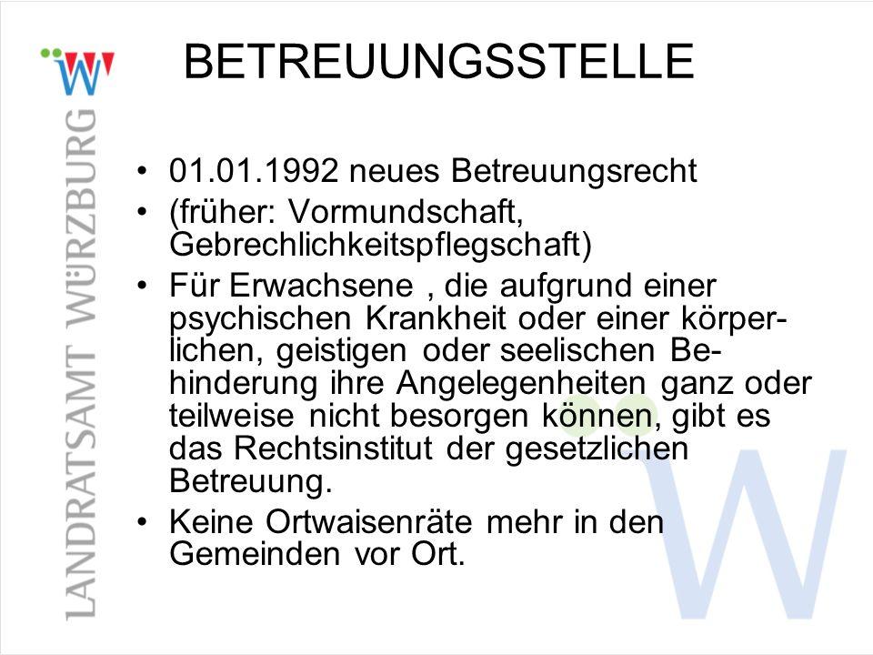 BETREUUNGSSTELLE 01.01.1992 neues Betreuungsrecht