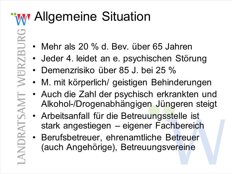 Allgemeine Situation Mehr als 20 % d. Bev. über 65 Jahren