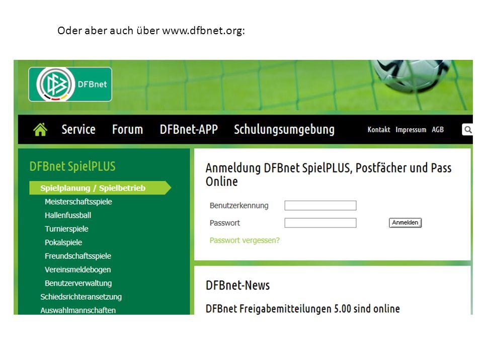 Oder aber auch über www.dfbnet.org: