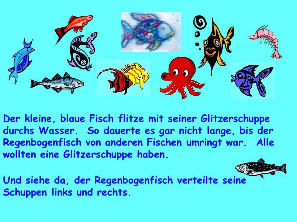 Der kleine, blaue Fisch flitze mit seiner Glitzerschuppe durchs Wasser