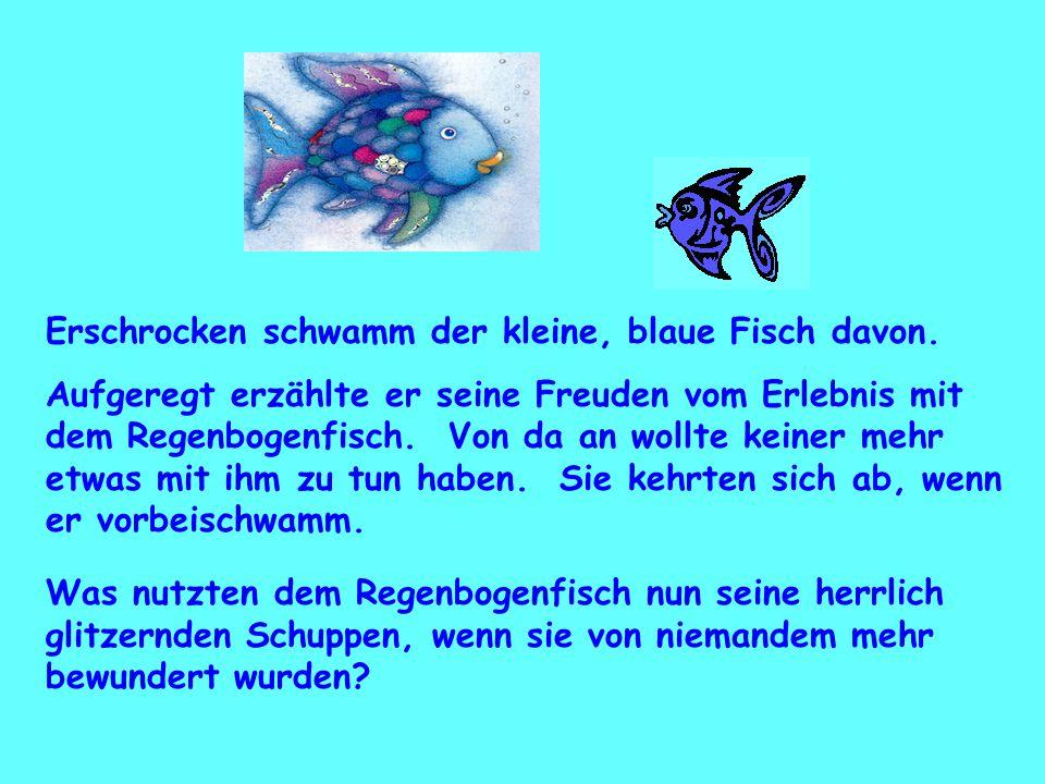 Erschrocken schwamm der kleine, blaue Fisch davon.
