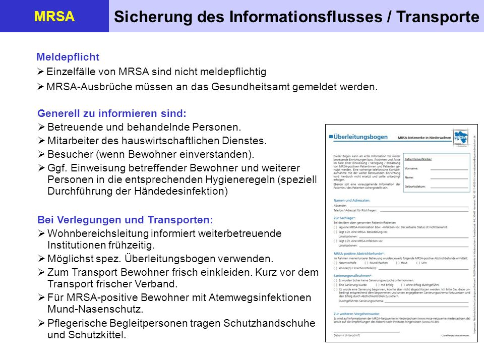 Sicherung des Informationsflusses / Transporte