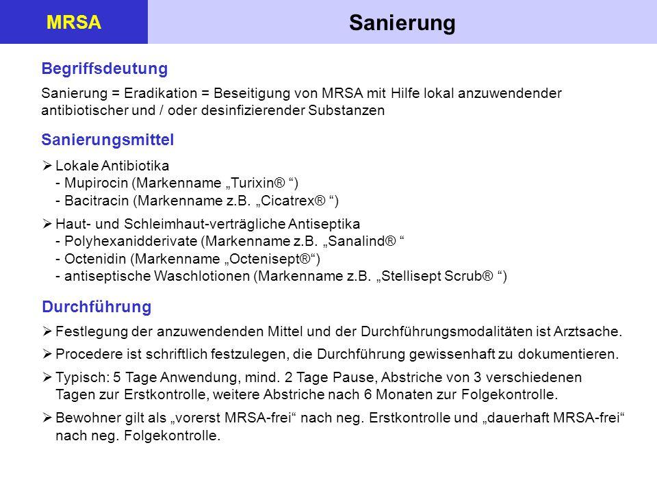 Sanierung MRSA Begriffsdeutung Sanierungsmittel Durchführung