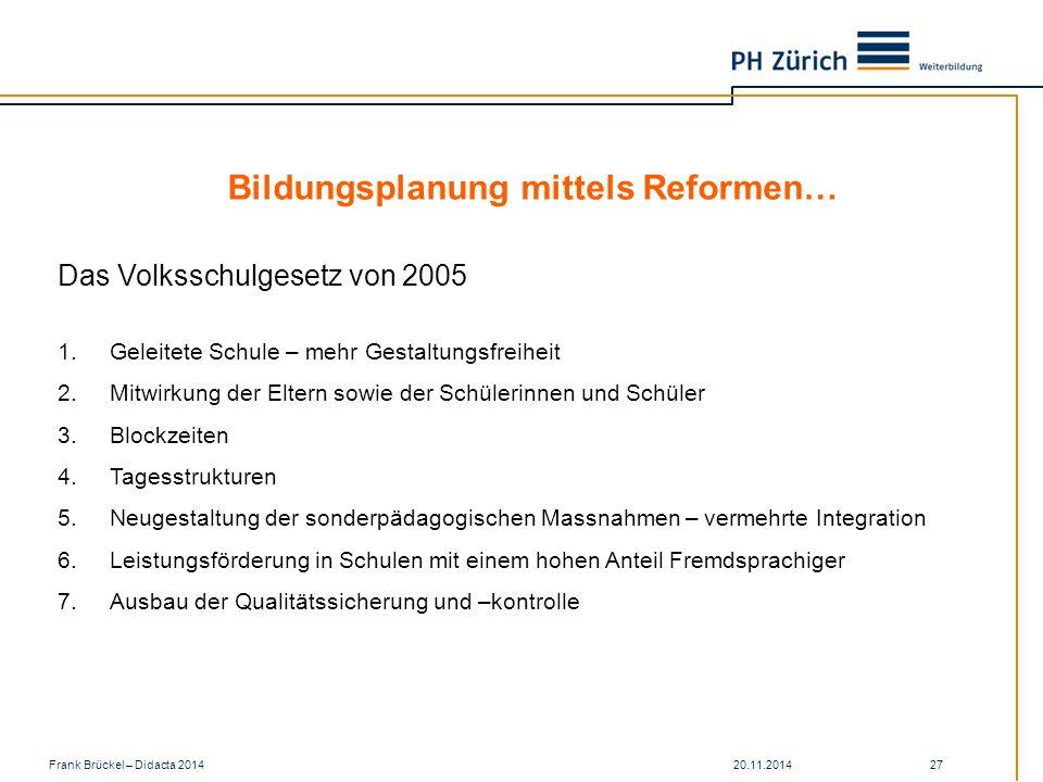 Bildungsplanung mittels Reformen…