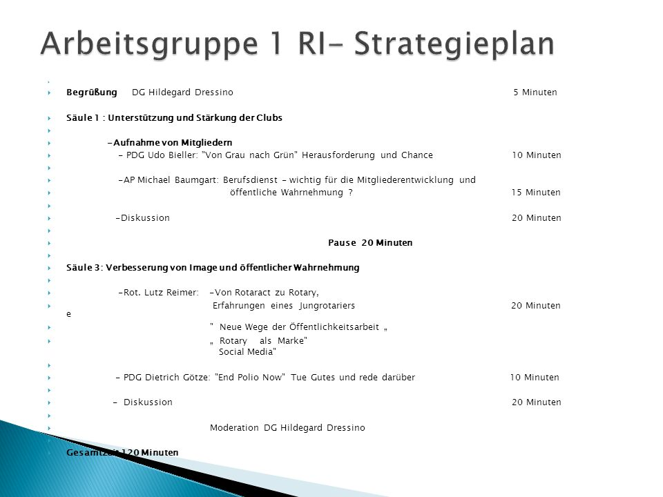Arbeitsgruppe 1 RI- Strategieplan
