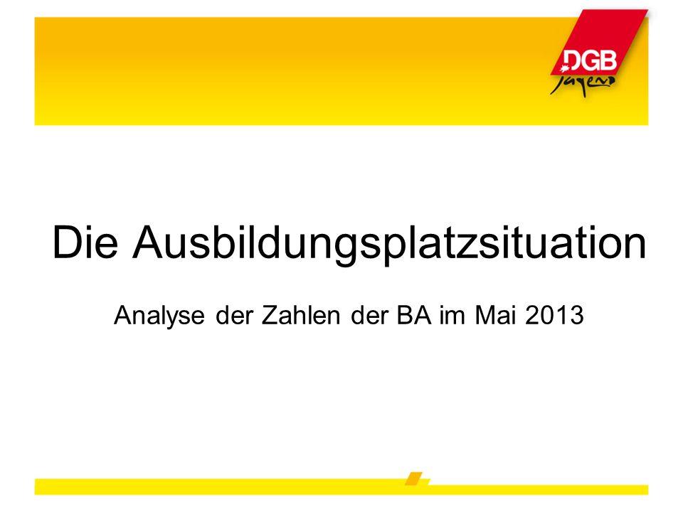 Die Ausbildungsplatzsituation Analyse der Zahlen der BA im Mai 2013