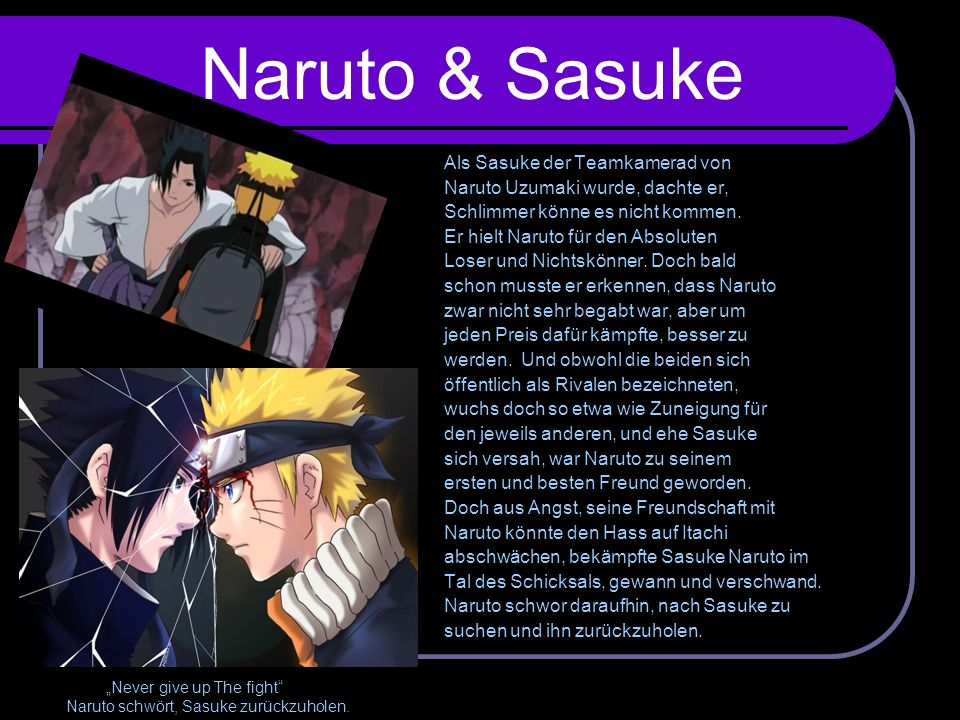 Naruto & Sasuke Als Sasuke der Teamkamerad von