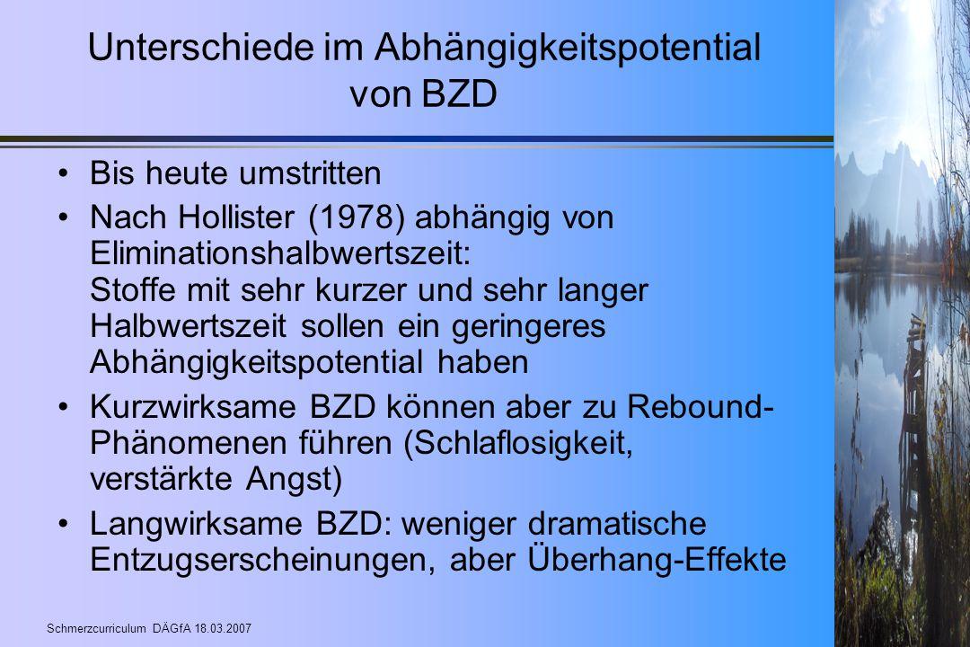 Unterschiede im Abhängigkeitspotential von BZD