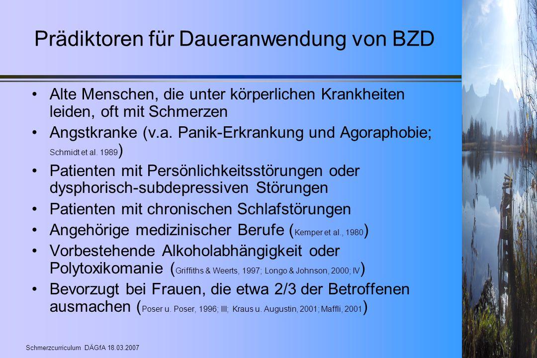 Prädiktoren für Daueranwendung von BZD
