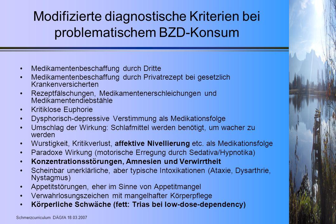 Modifizierte diagnostische Kriterien bei problematischem BZD-Konsum
