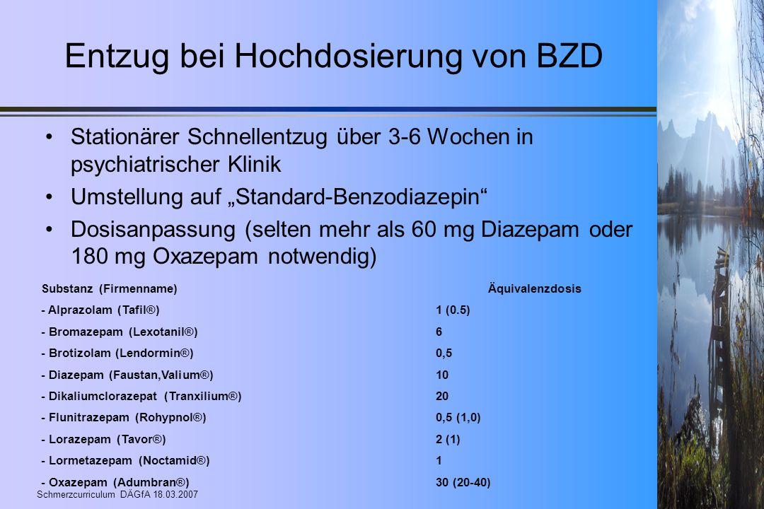 Entzug bei Hochdosierung von BZD