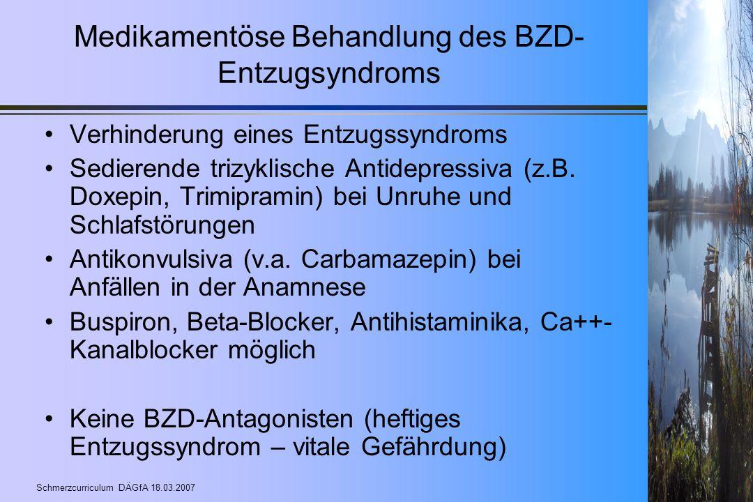 Medikamentöse Behandlung des BZD-Entzugsyndroms
