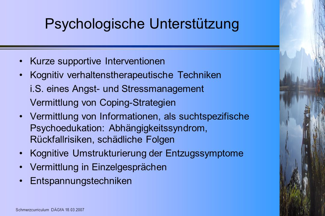 Psychologische Unterstützung