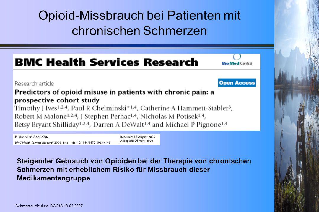 Opioid-Missbrauch bei Patienten mit chronischen Schmerzen