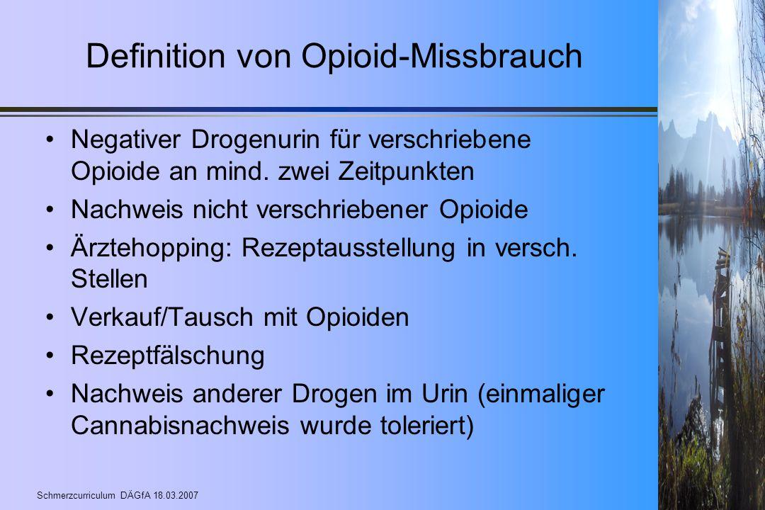 Definition von Opioid-Missbrauch