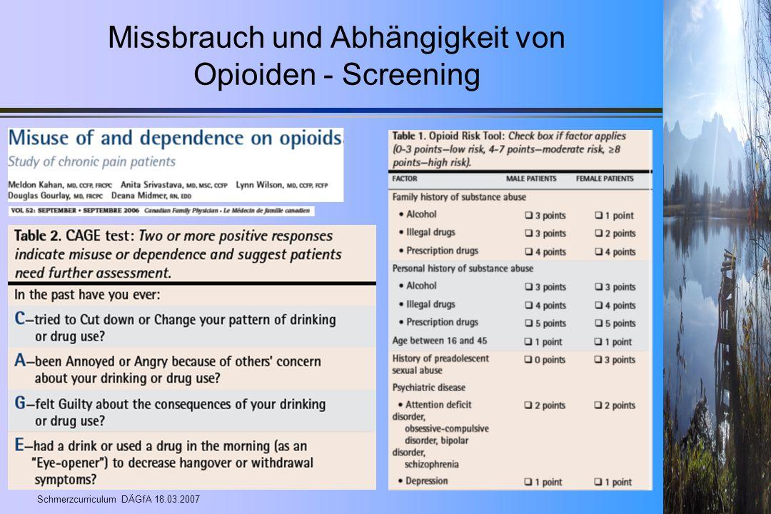 Missbrauch und Abhängigkeit von Opioiden - Screening