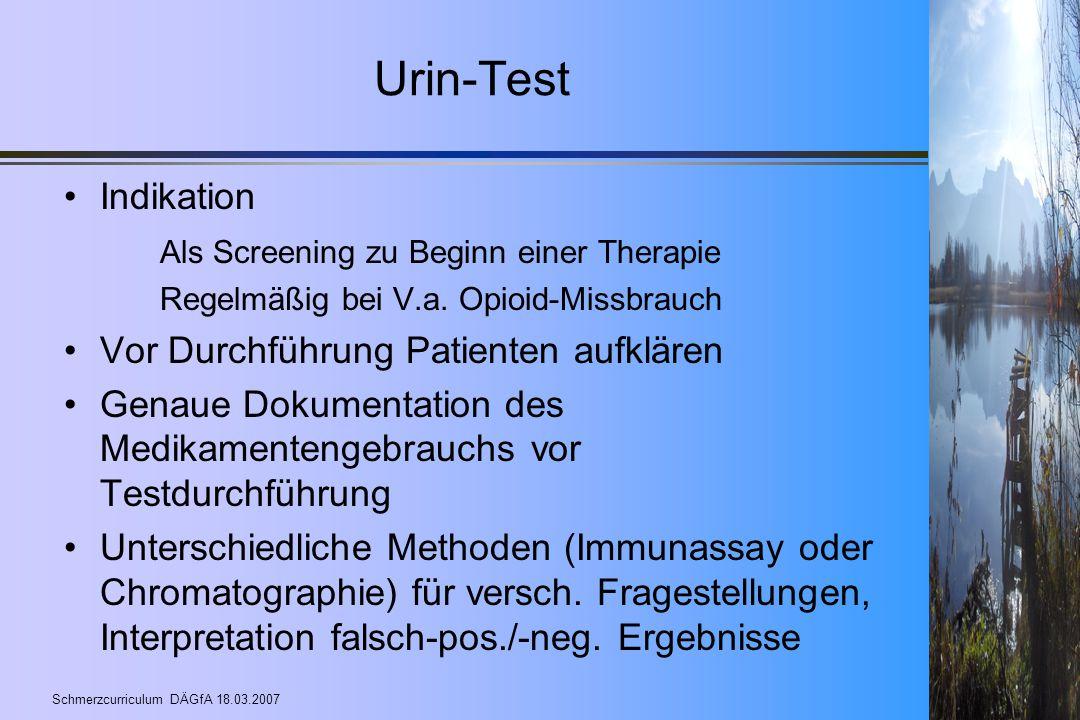 Urin-Test Indikation Als Screening zu Beginn einer Therapie