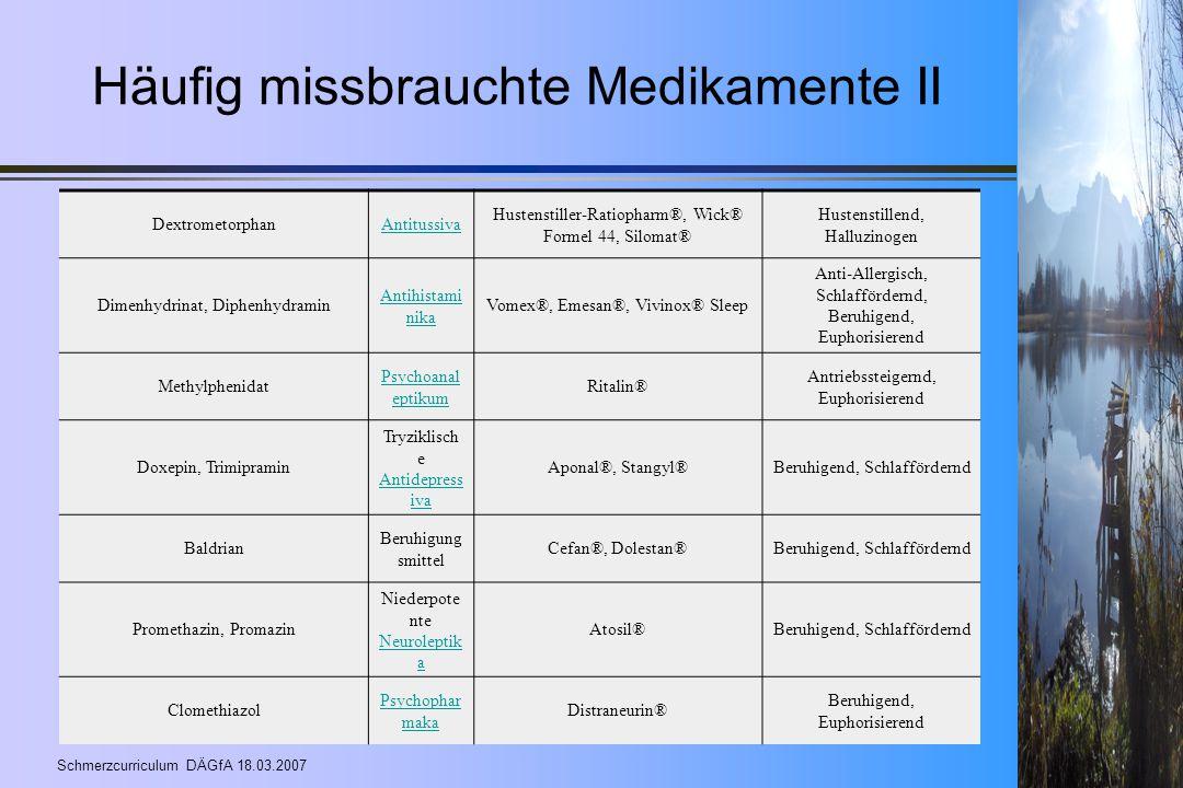 Häufig missbrauchte Medikamente II